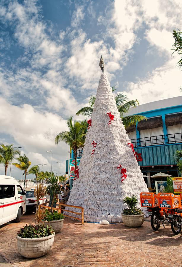 Christmas tree, hooters motorbikes in Cozumel, Mexico stock photo