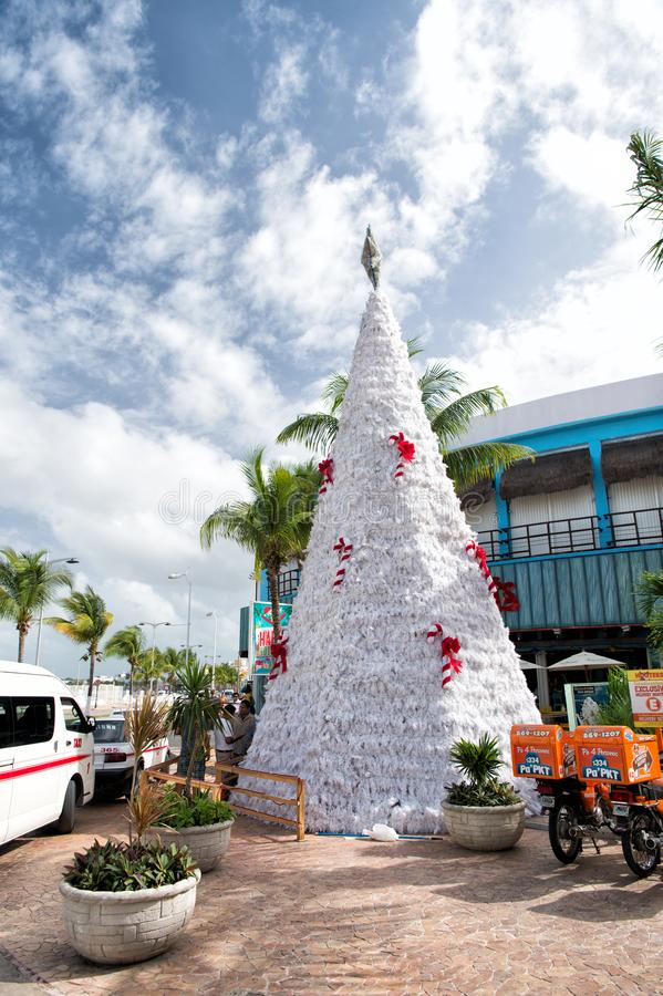 Christmas tree, hooters motorbikes in Cozumel, Mexico stock photos
