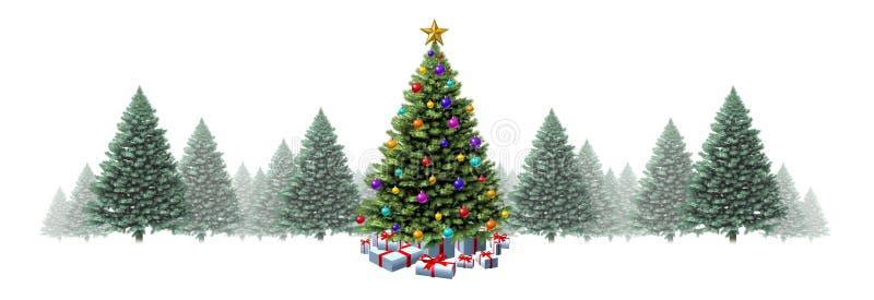 Christmas Tree Horizontal Border Stock Illustration Illustration Of Seasonal Season 159839943