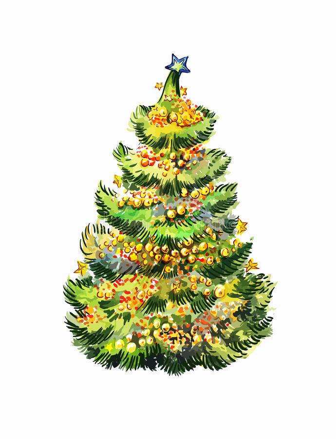 Christmas tree in a hot climate country. New year vector illustration in watercolor style isolated on white. Suitable to decorate. Unusial Christmas royalty free illustration