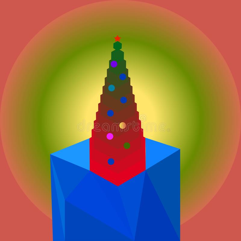 Christmas tree on the ice stock illustration