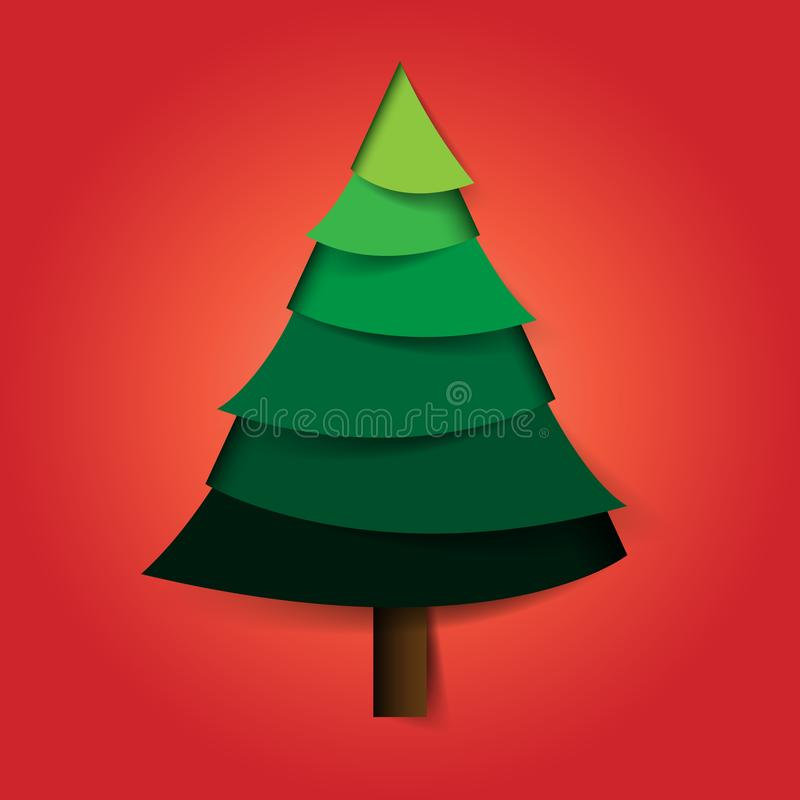 Christmas tree icon paper cut style. royalty free illustration