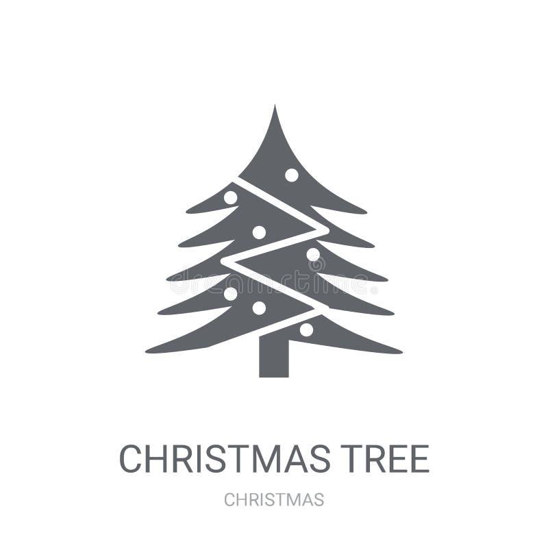 Christmas tree icon. Trendy Christmas tree logo concept on white stock illustration