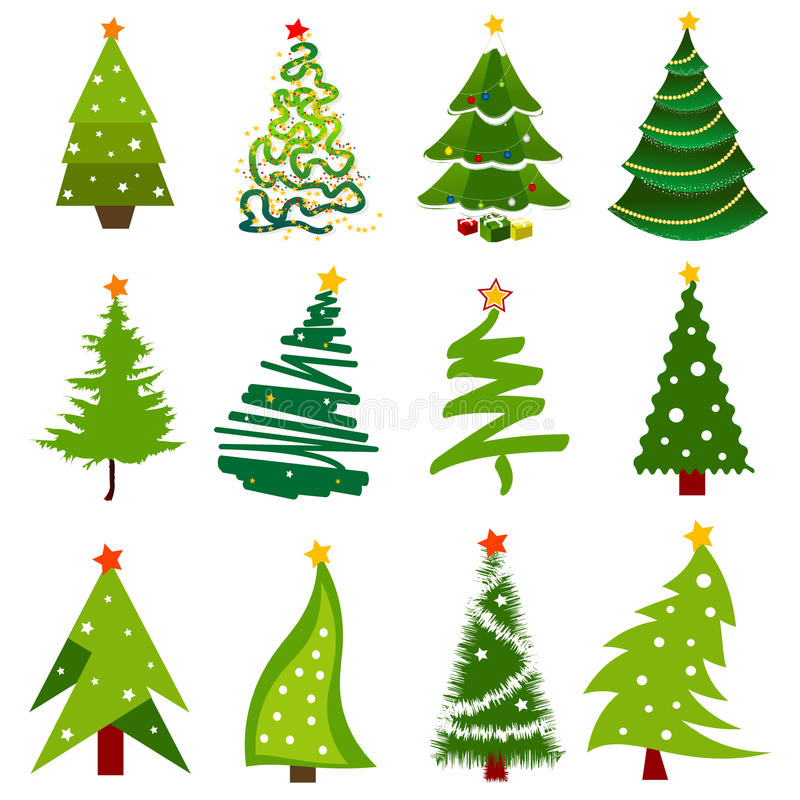 Christmas tree icons royalty free illustration