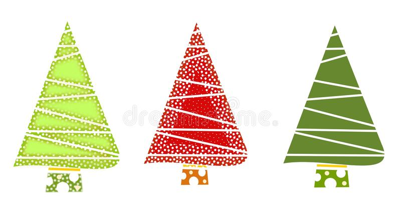Christmas tree icons-Green and red royalty free stock photo