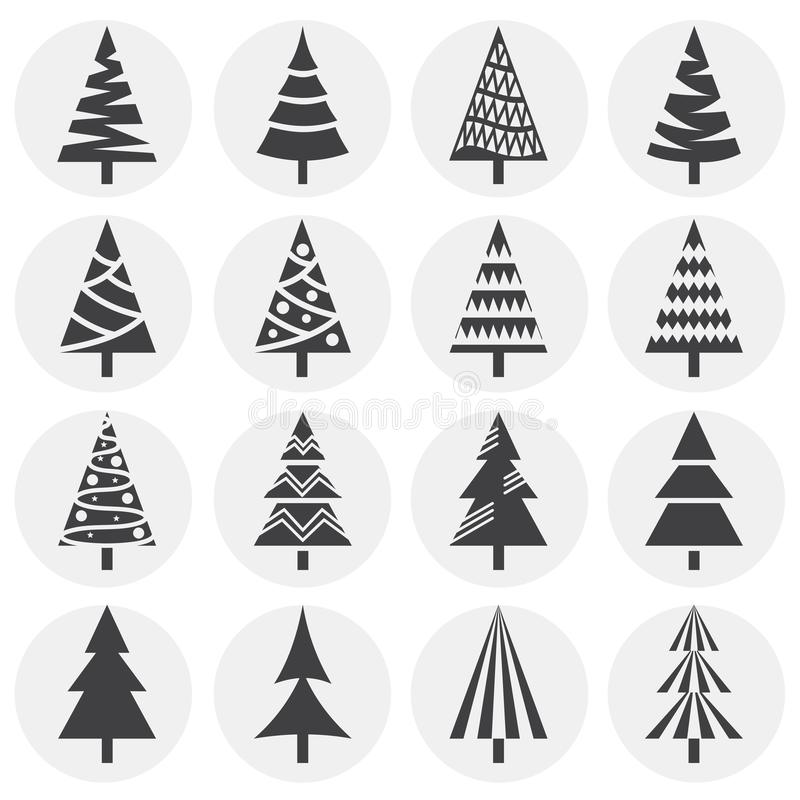 Christmas tree icons set on background for graphic and web design. Simple illustration. Internet concept symbol for. Website button or mobile app vector illustration