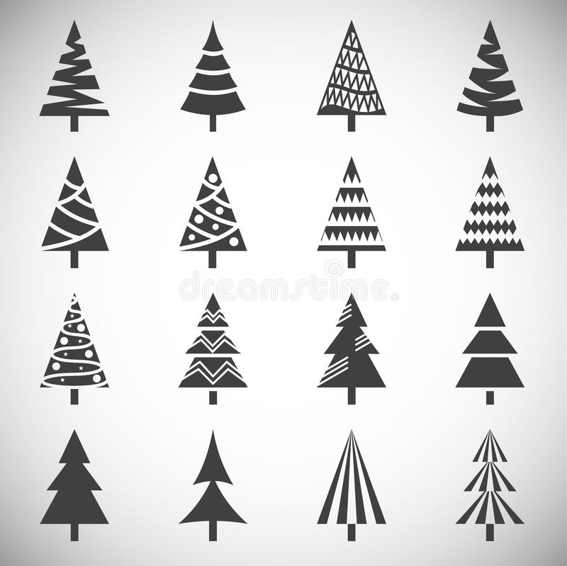 Christmas tree icons set on background for graphic and web design. Simple illustration. Internet concept symbol for. Website button or mobile app stock illustration