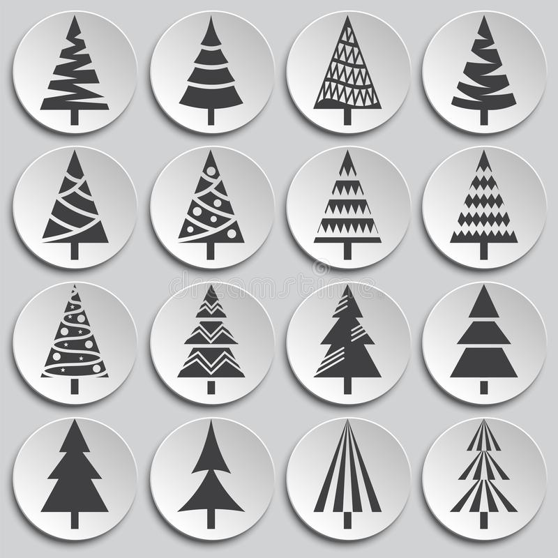 Christmas tree icons set on background for graphic and web design. Simple illustration. Internet concept symbol for. Website button or mobile app royalty free illustration
