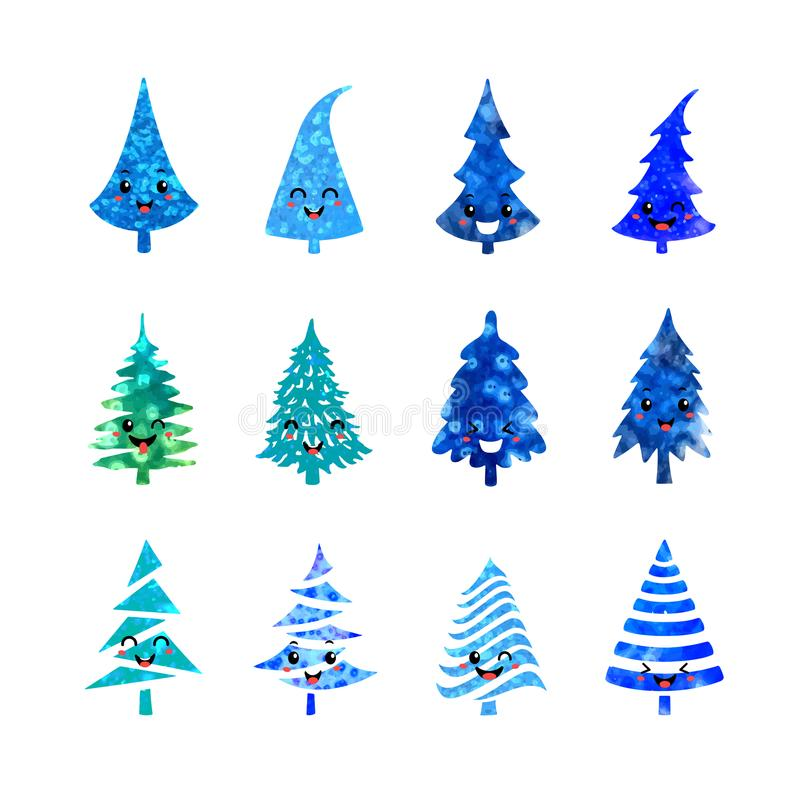 Christmas tree icons set vector illustration