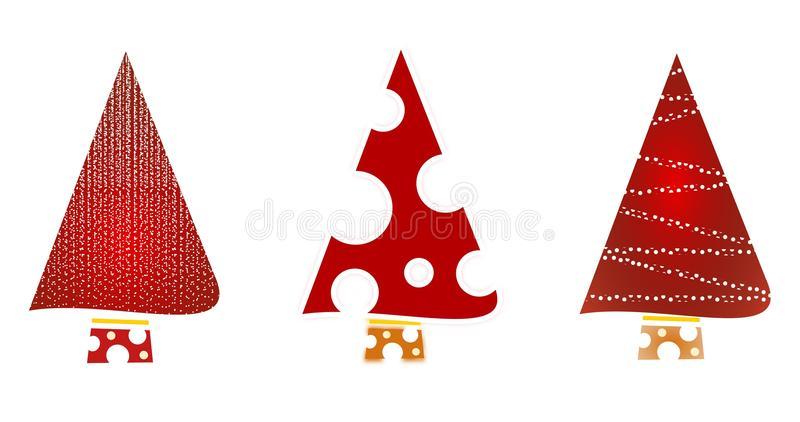 christmas tree icons- Sparkling red decorated royalty free stock image