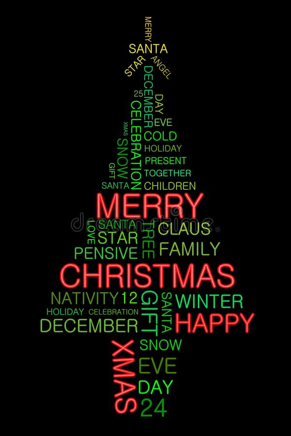 Christmas tree illustrated by words. On black background royalty free illustration
