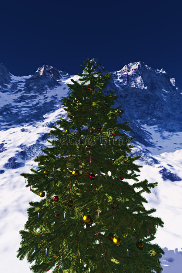Free Christmas Tree In The Mountains Royalty Free Stock Photos - 21685018