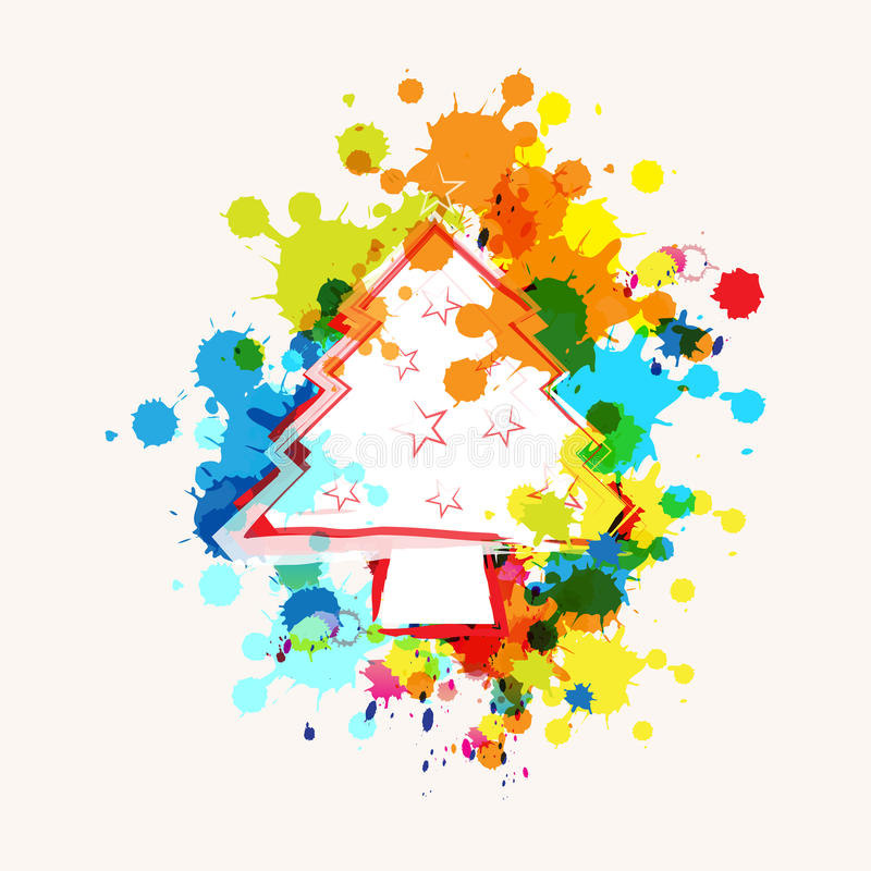 Christmas tree on ink splatter. Background stock illustration