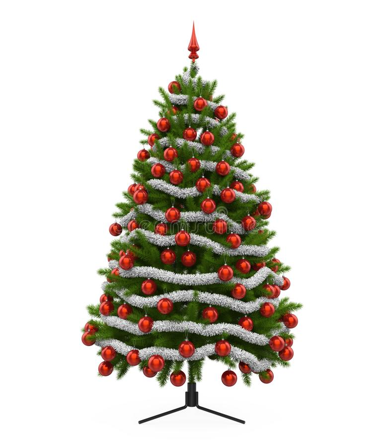 Christmas Tree Isolated. On white background. 3D render stock illustration