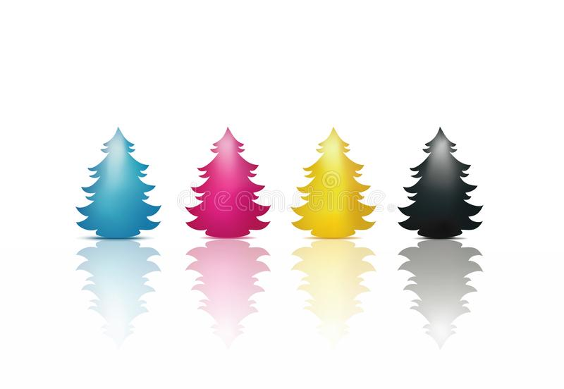 Christmas tree isolated in cyan magenta yellow black colors. CMYK Concept. Merry Christmas. Concept Christmas greetings with Christmas tree colored reflections vector illustration