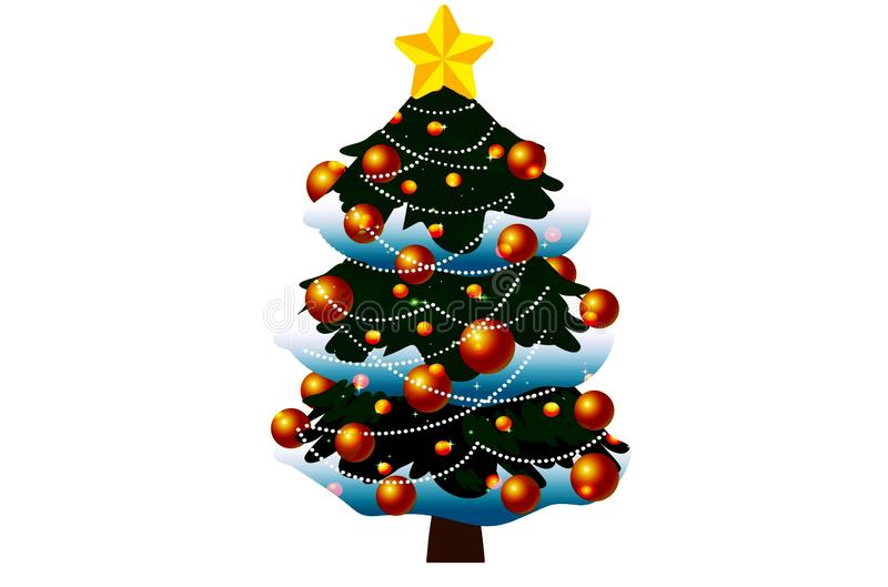 Christmas tree isolated on white background. Illustration design royalty free stock photos
