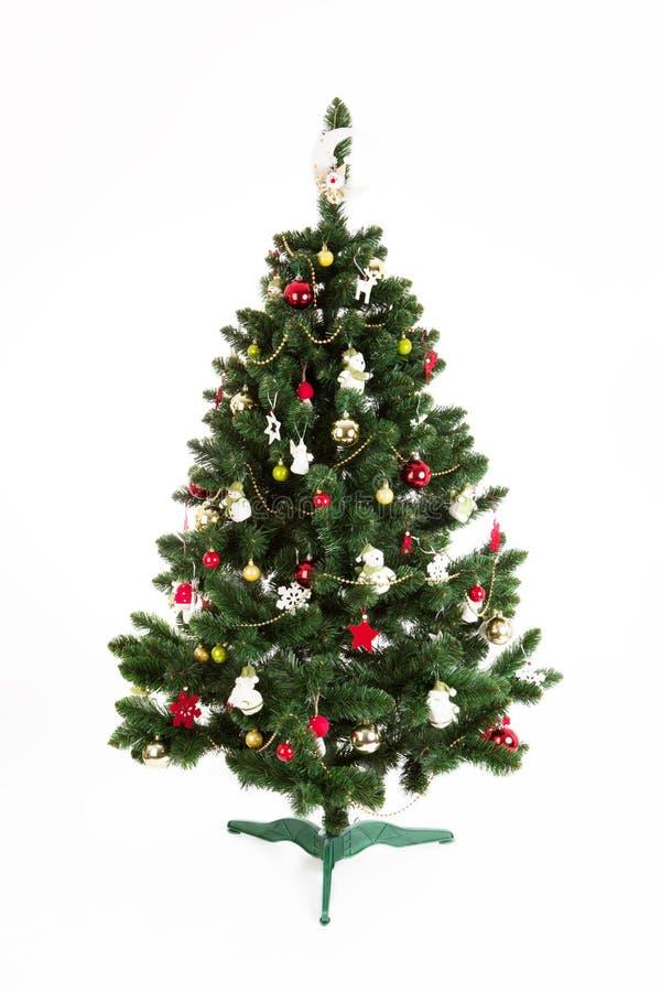Christmas tree isolated on white background. Studio shot royalty free stock photo