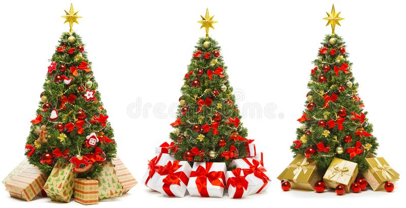 Christmas Tree Isolated on White, Set of Decorated Xmas Tree with Present Gift Boxes royalty free stock photo