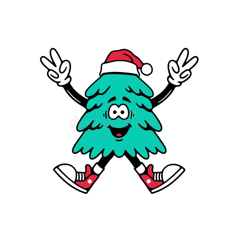 CHRISTMAS TREE JUMPING WITH PEACE SIGN CARTOON royalty free illustration