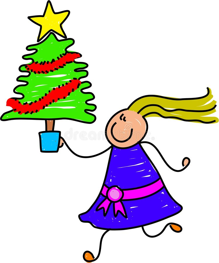 Christmas tree kid vector illustration