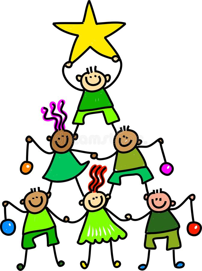 Christmas Tree Kids. Whimsical cartoon illustration of a group of happy children forming a Christmas tree to celebrate the occasion stock illustration