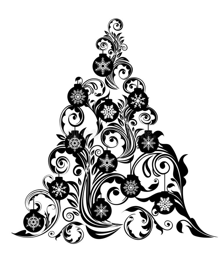 Christmas Tree Leaf Swirls Design And Ornaments Stock ...