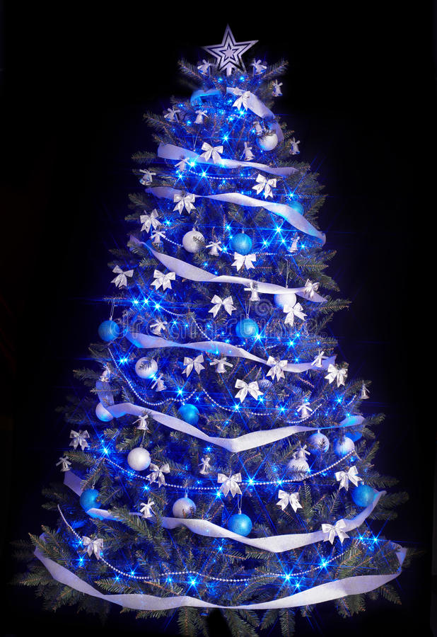 Christmas tree with light and blue star. stock photos