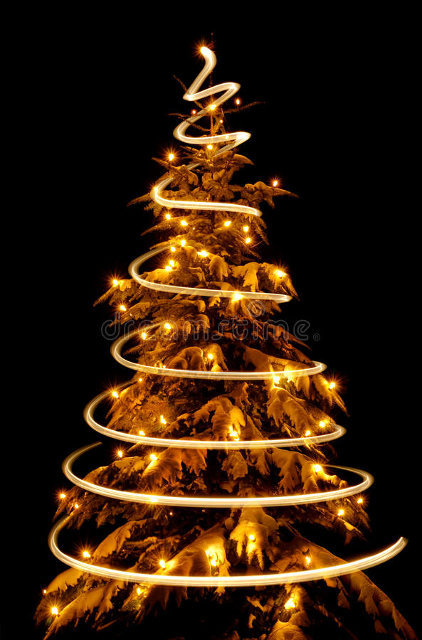 Christmas Tree With Light Spiral Drawn Around It Stock Photography