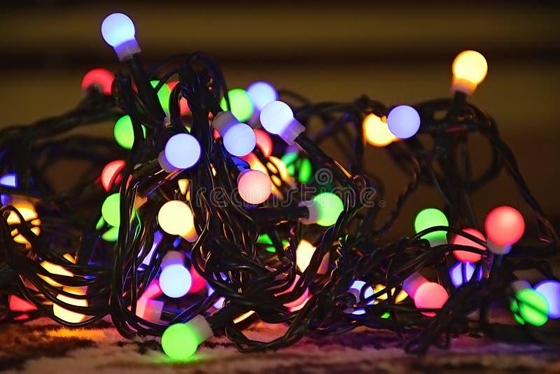 Christmas tree lights in Chomutov city stock photo