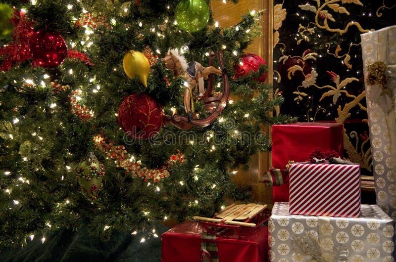 Christmas tree lights gift box wrap stock photography