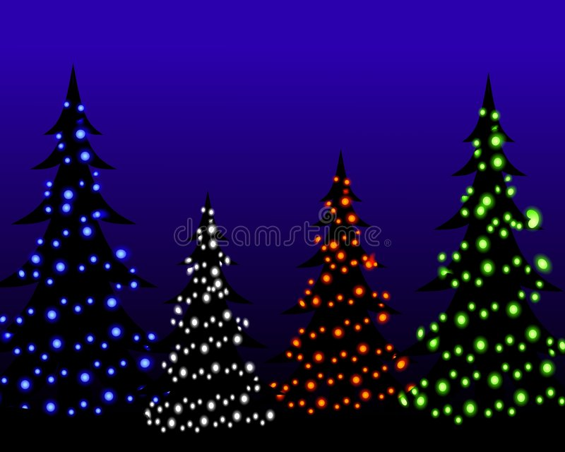 Christmas Tree Lights at Night. A background illustration featuring a group of Christmas trees at night with glowing lights vector illustration