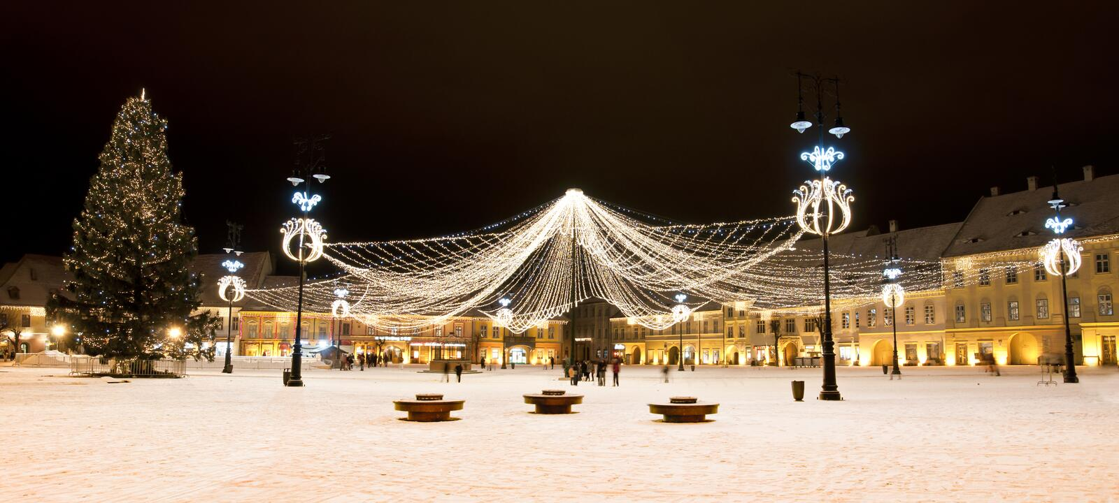 Download Christmas Tree And Lights In Old Town Square Stock Photo - Image of xmas, main: 34172364