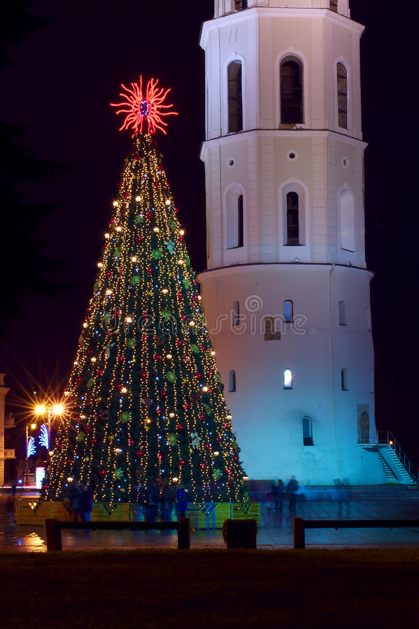 Download Christmas Tree With Lights In Vilnius Lithuania Stock Image - Image: 22305379