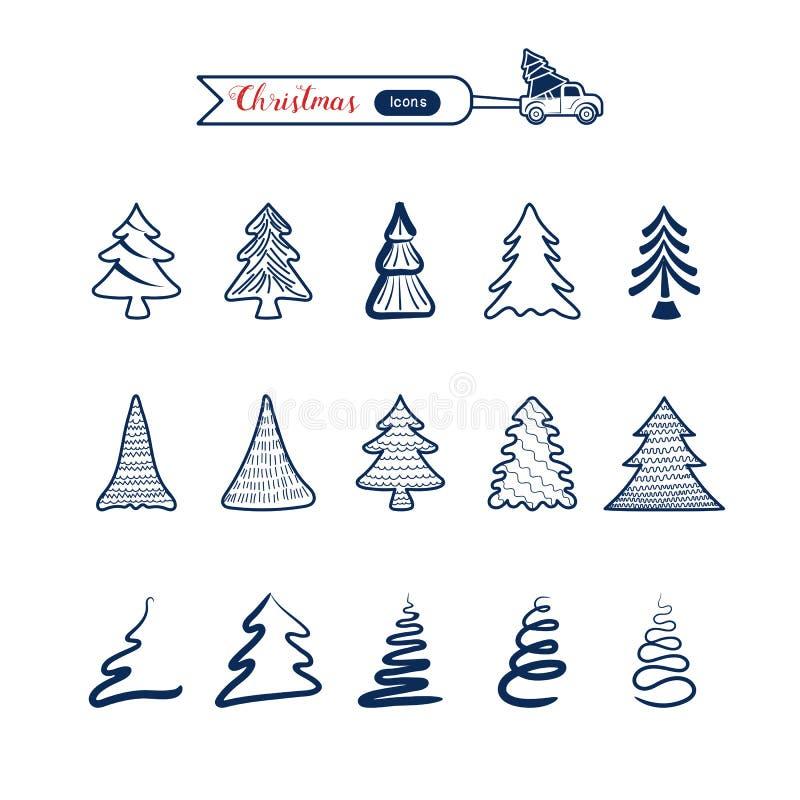 Christmas tree line art icons set. Christmas drawing collection. Cartoon Vector Illustration stock illustration