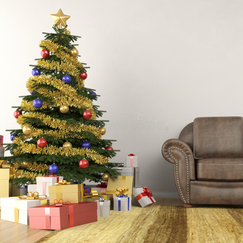 Christmas tree in living room stock illustration - Christmas tree in living room ...