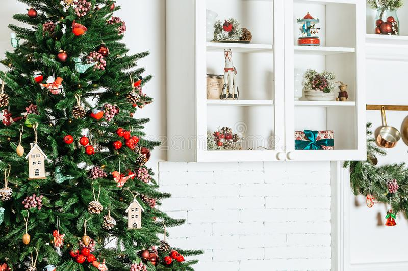 Christmas tree in Christmas living room. Beautiful New Year decorated classic home interior. Winter background stock photos