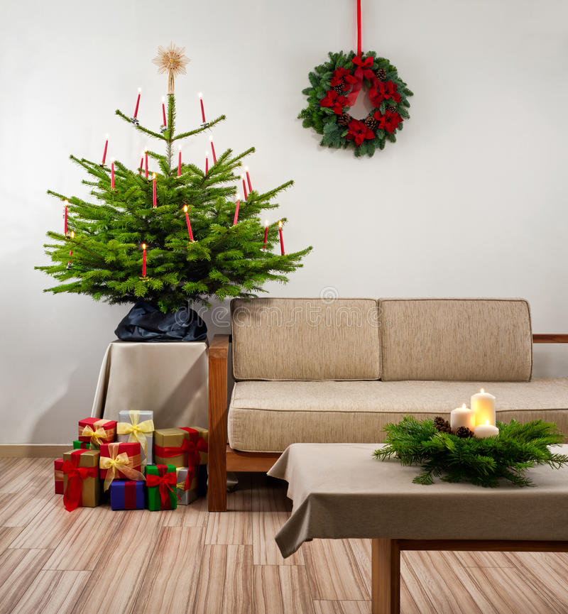 Christmas tree in living room stock photo image 39475704 for Christmas tree in living room photos