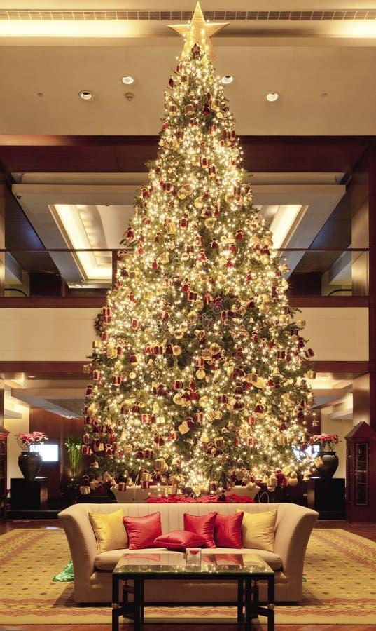 Christmas tree in lobby royalty free stock photos