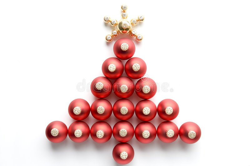 Christmas Tree Made From Baubles Royalty Free Stock Photo