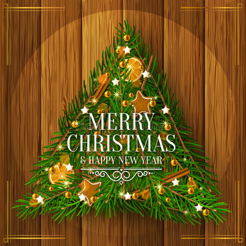 Christmas tree made of branches on wooden background. Vector. Christmas tree made of branches, gingerbreads, cinnamon, orange and pearls on wooden background stock illustration