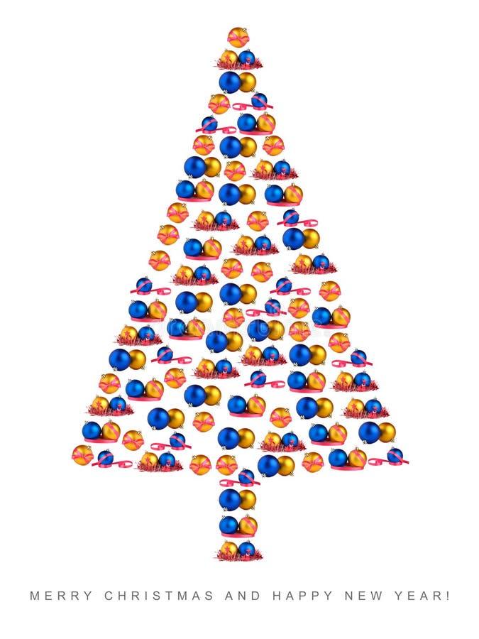 Christmas Tree Made Of Christmas Decorations Stock Photo