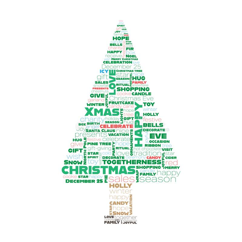 Christmas tree made of words stock illustration