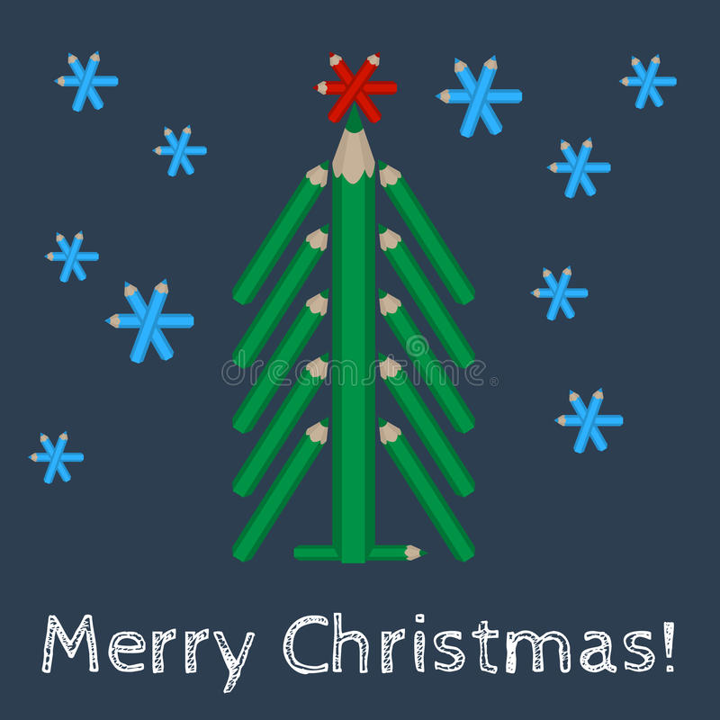 Christmas tree made of colored pencils and the words Merry Christmas. Vector christmas tree made of colored pencils and the words Merry Christmas vector illustration