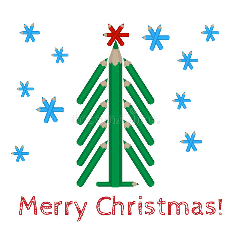 Christmas tree made of colored pencils and the words Merry Christmas. Vector christmas tree made of colored pencils and the words Merry Christmas stock illustration