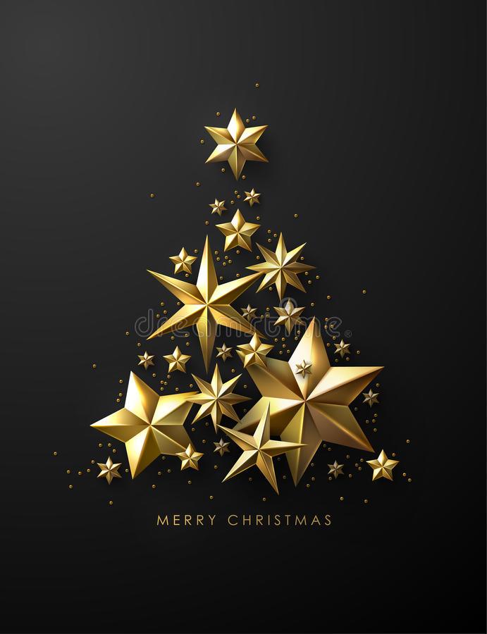 Christmas Tree made of Cutout Gold Foil Stars vector illustration
