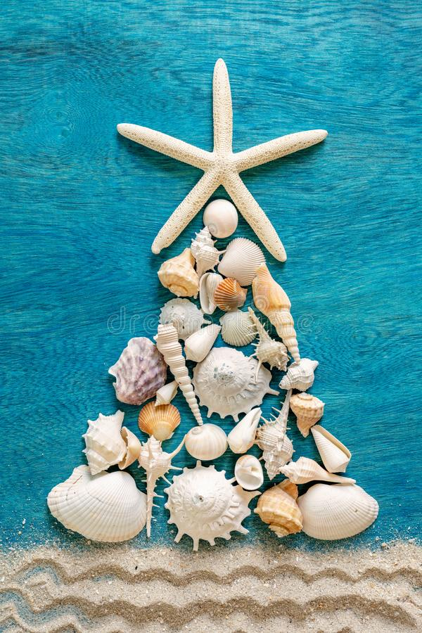 Christmas tree made from different type of sea shells and starfish with sand decoration on blue wooden background, top view, royalty free stock photo