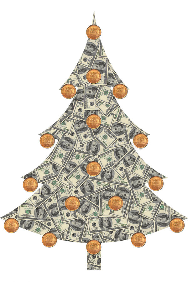 Christmas tree made from dollars