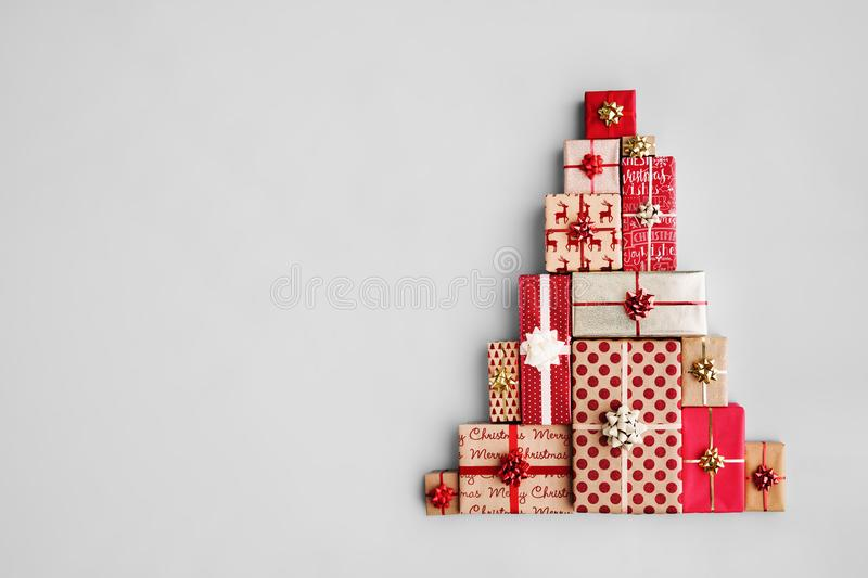 Christmas tree made from Christmas gifts stock images