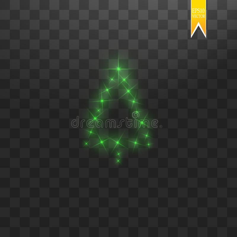 Christmas Tree made. Green glitter bokeh lights and sparkles. Shining star, sun particles and sparks with lens flare stock illustration