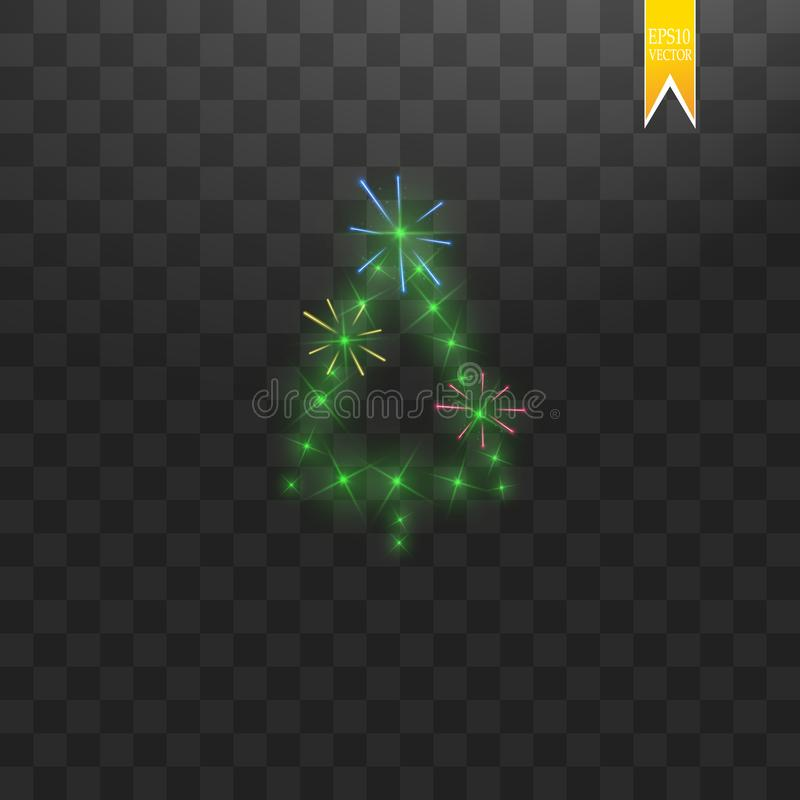 Christmas Tree made. Green glitter bokeh lights and sparkles. Shining star, sun particles and sparks with lens flare vector illustration
